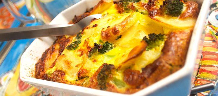Ovnæggekage med kartofler og broccoli