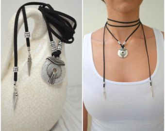 Leather Choker Necklace with SHARK or WOLF TOOTH Wrap Choker