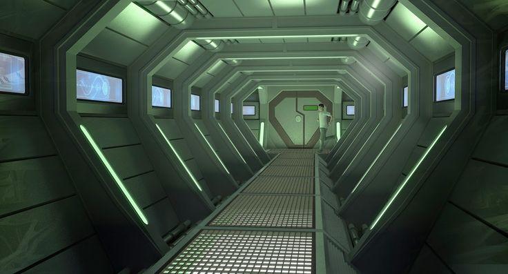 arti facto interior de naves espaciales de ciencia