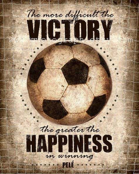 Pele Soccer Football Quote - photo print - Poster Wall Art Textured Distressed Beige Tan Black Vintage Sports Boys Room Decor Victory