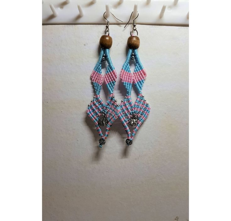 Excited to share the latest addition to my #etsy shop: Long Macrame Earrings Pink and Blue Cotton Waxed Thread Wooden Bead Chandelier earrings #dropearrings #chandeliersearrings #bollywoodjewelry #woodearrings #recycledthread #cottonmacrame #longearrings #hippiejewelry #pinkbluejewelry #macrameearrings #fringeearrings #indianearrings #multicolorearrings