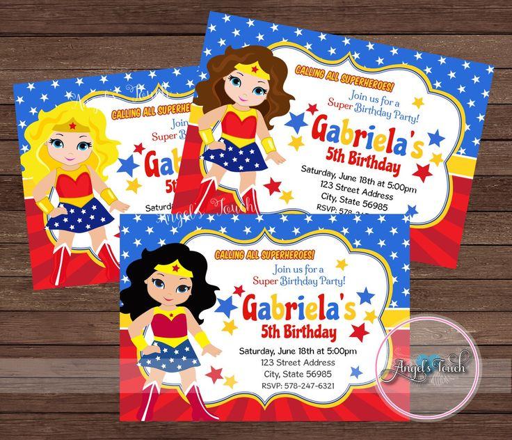 Wonder Woman Party Invitation, Wonder Woman Invitation, Wonder Woman Birthday Invitation, WW Party Invitation, Wonder Woman, Digital File. by AngelsTouchPartyShop on Etsy https://www.etsy.com/listing/278032390/wonder-woman-party-invitation-wonder