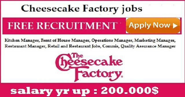 Latest #Cheesecake_Factory #Jobs Vacancies 2017 apply now  http://jobiclub.blogspot.com/2017/07/latest-cheesecakefactory-jobs-vacancies.html