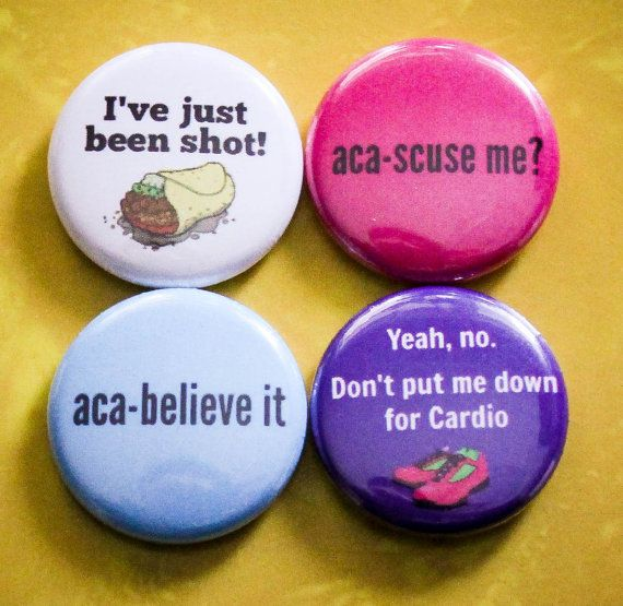 "Pitch Perfect Set of 4 - 1"" Pinback Buttons Available on A2P2 on Etsy!"