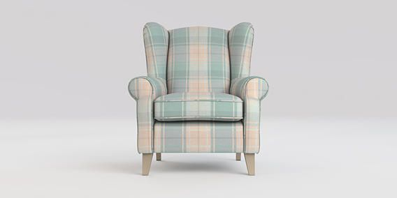 Buy Sherlock Chair (1 Seat) Soft Woven Check Teal High Tapered - Light from the Next UK online shop