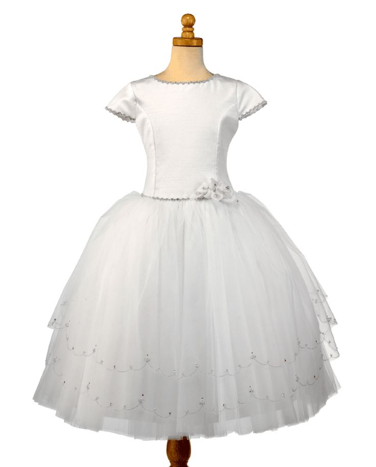 Christie Helene Couture Communion Dress - Peyton - White Polychantong Silk and Organza Rhinestones