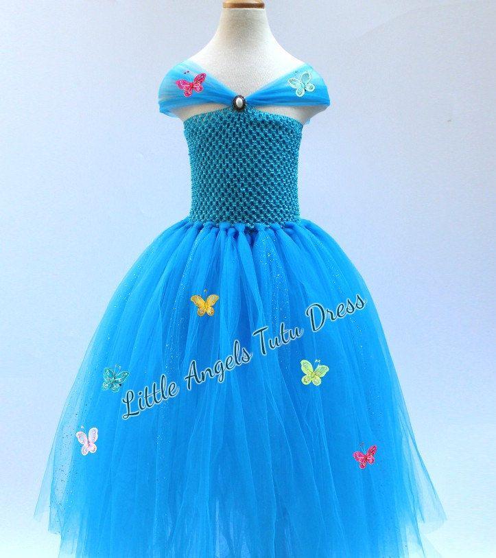 Cinderella Dress, Cinderella Tulle Tutu Dress, Fancy Dress Costume, Birthday Party Dress, Disney Cinderella Movie 2015, FULLY LINED TOP by LittleAngelTutuDress on Etsy