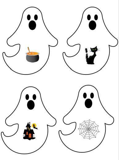 Zoek 2 dezelfde. Plaat 4. Druk de prent 2 x af, knip ze uit en plastificeren. Er staan nog platen in thema Halloween.