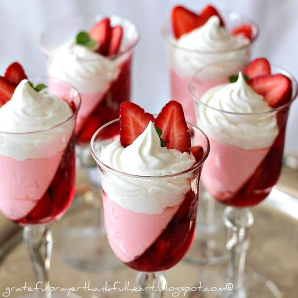 Jello strawberry parfait, beautiful presentation!