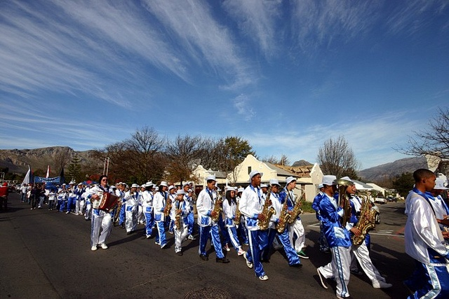 Solms-Delta marching band at the annual Franschhoek Bastille festival