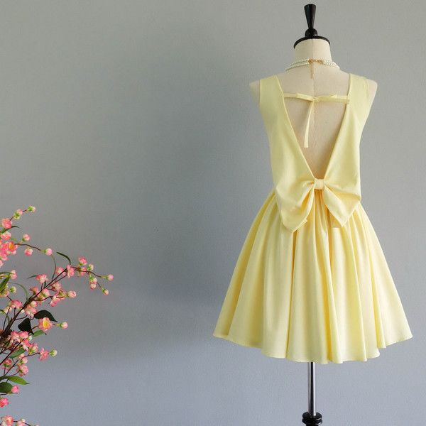 Butter Yellow Dress Yellow Party Dress Backless Dress Yellow Prom... ($39) ❤ liked on Polyvore featuring dresses, silver, women's clothing, cocktail party dress, yellow cocktail dress, backless party dresses, short prom dresses and cocktail prom dress