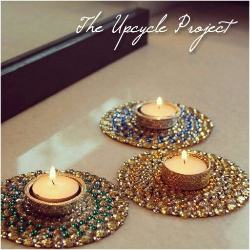 Traditional Indian tea light holders/ diyas made on old CDs