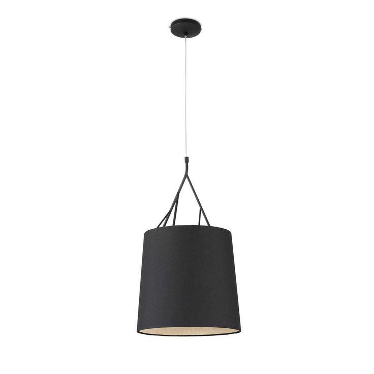 suspension+avec+structure+en+métal+noir+en+forme+de+branche+et+abat+jour+en+tissu+noir+pour+l'éclairage+du+salon,+du+bureau+ou+de+la+chambre