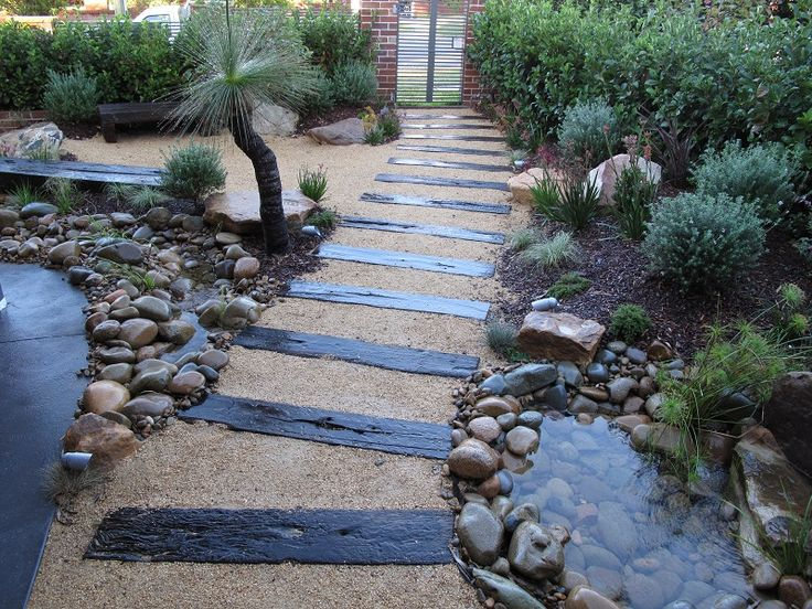 Japanese Garden – Native Plants. Waterfall, Creek. Northern Beaches, Sydney. Seaforth Balgowlah – Sleepers, Sandstone Rocks, Waterfall, Creek, Dwarf Red Flowering Gum Tree, Native Grasses, Westringia, Baeckia, Curly Grass