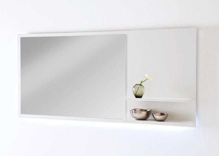 Garderobenpaneel mit Spiegel Cuno Weiß 20816. Buy now at https://www.moebel-wohnbar.de/garderobenpaneel-mit-spiegel-cuno-weiss-20816.html