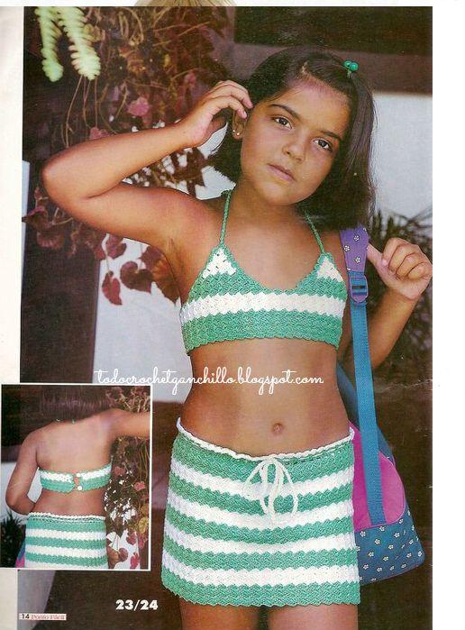 4 Blusas con faldas Crochet para Niñas / patrones   Todo crochet