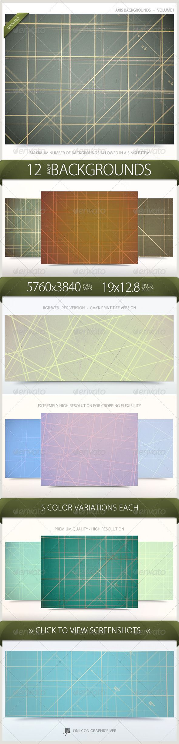 "Axis Backgrounds Volume 1  #GraphicRiver           Axis Backgrounds Volume 1 This set of premium, high-resolution backgrounds contains 12 unique designs. Each background includes 5 color variations for a total of 60 backgrounds. These Line / Axis backgrounds are perfect for any type of Print or Web project. Included in this Volume   12 RGB 72DPI JPEG Web Backgrounds  12 CMYK 300DPI LZW TIFF Print Backgrounds  5760×3840 Pixels  19"" x 12.8"" Inches  5 Color Variations Each  60 Total Backgrounds…"