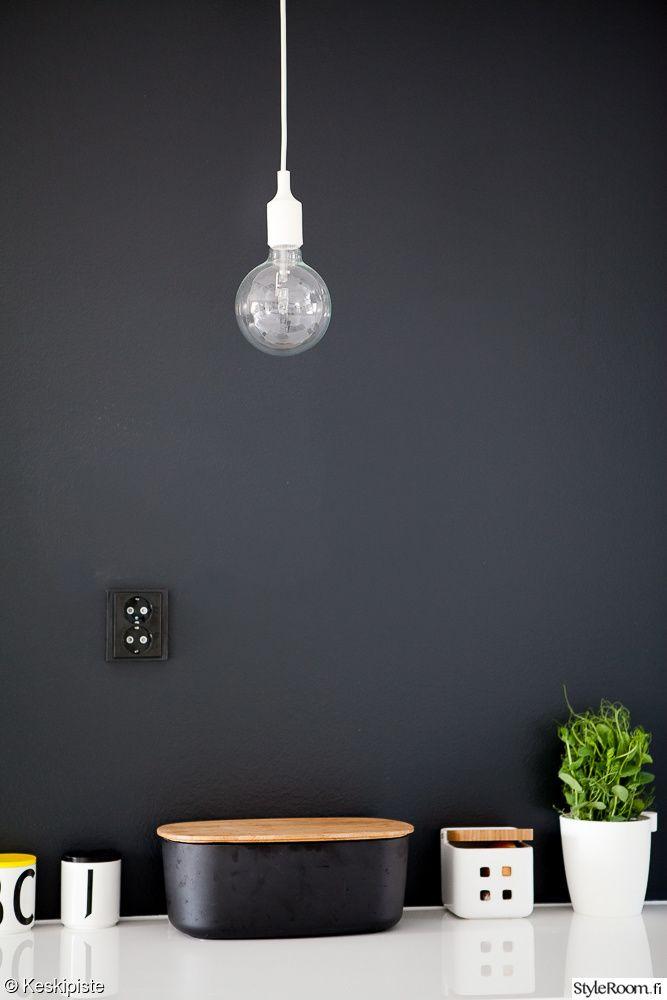 yksityiskohtia,keittiö,mustavalkoinen keittiö,musta seinä,yrtit,design letters