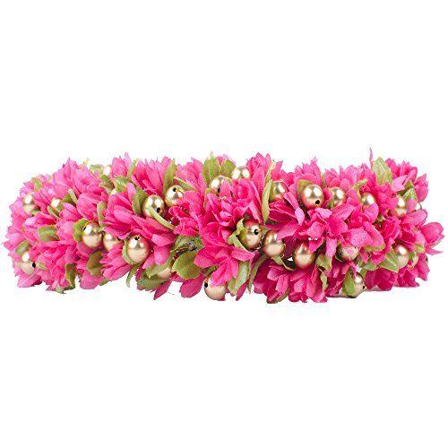 Majik-Bridal-Gajra-veni-Hair-Accessories-For-Bun-Decorations-Free-Hair-Donut-18-cm-Pink