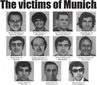 Photo of those killed at the Munich Massacre.  The 1972 Summer Olympics held in Munich, West Germany, and On September 5, a group of 8 Palestinians belonging to the Black September organization broke into the Olympic Village & took 9 Israeli athletes, coaches & officials hostage in their apartments.
