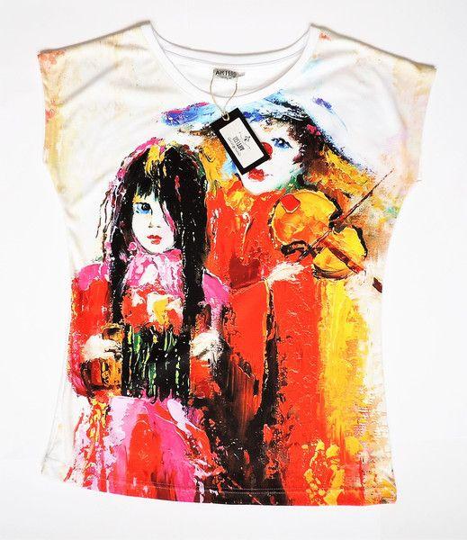 Artystyczny T-shirt damski - Klaun - ArtEgo - Bluzki