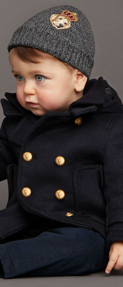 On SALE! DOLCE & GABBANA Baby Boys Blue Military Wool Coat. Super Cute Fashion for Baby Boys this Winter. #kidsfashion #baby #boys #kids #doclegabbana #minime