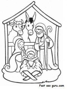 Printable Christmas Jesus in the manger coloring pages - Printable Coloring Pages For Kids