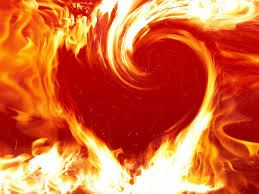 Flames engulf the heart