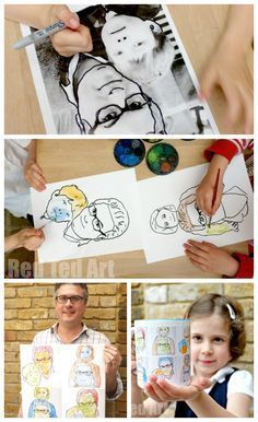 A fantastic process creating your own customised POP ART project. Great for any Andy Warhol lesson plans as well as for creating unique Father's Day Gifts! LOVE