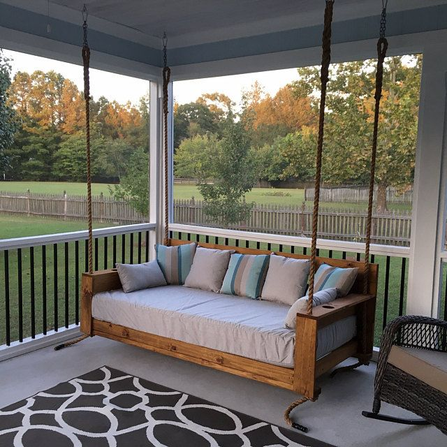 Sunbrella Custom Daybed Cushion Twin Bed Size Porch Swing Glider Swing Bed Outdoor Cushion 75 X 39 X 7 Cushion Cover In 2020 Porch Swing Porch Furniture Porch Swing Bed