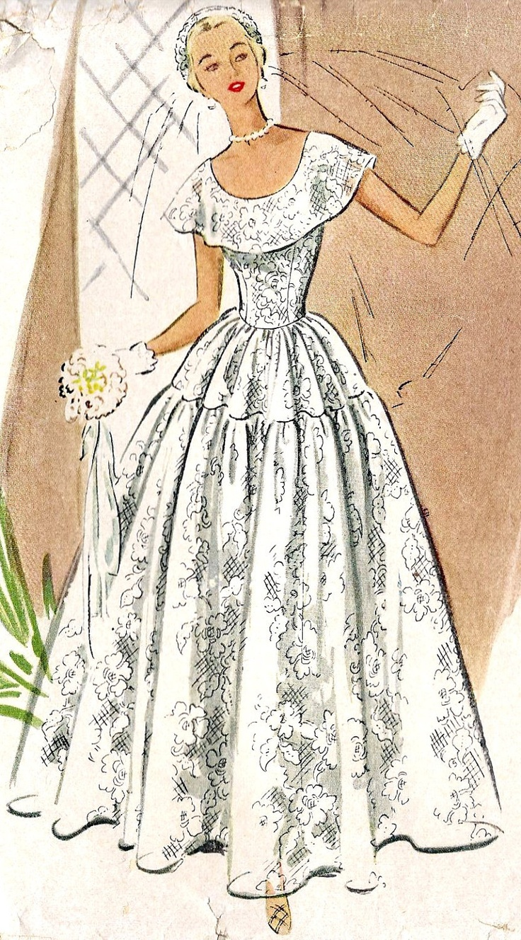 1000 images about vintage sewing patterns on pinterest for Wedding dress patterns vintage