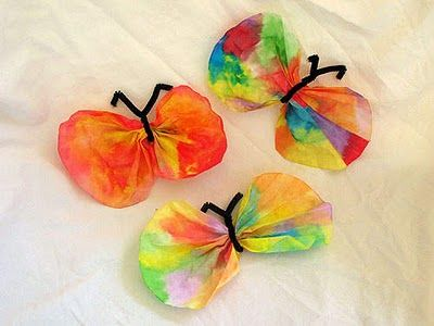 Coffee filter butterflies.  Idea from The Honeybunch Home Companion: All Aflutter: Butterfly Crafts!