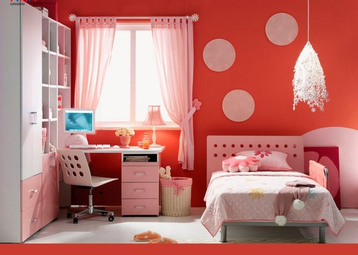 Chic IKEA Teenager Bedroom Design Ideas with Orange Wall, Sheer Pink Curtains, Pink and White Cupboard, Cool Pink Bed, and Pink Desk Study: Chic IKEA Teenager Bedroom Design Ideas with Orange Wall, Sheer Pink Curtains, Pink and White Cupboard, Cool Pink Bed, and Pink Desk Study