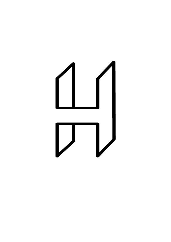 This logo concept is quite different from other 3D designs of the same letter. If it was to be shown from the front, you would only be able to see the line in the middle, where as if moved a little to te side, the flat sides show up. Nice optical illusion.