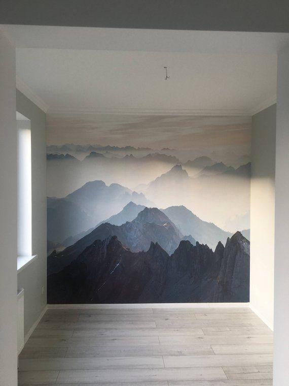 Mystical Mountains mural, Misty Mountain Shadow, Hazy Silhoutte Mountain mural, Wallpaper, Wa…