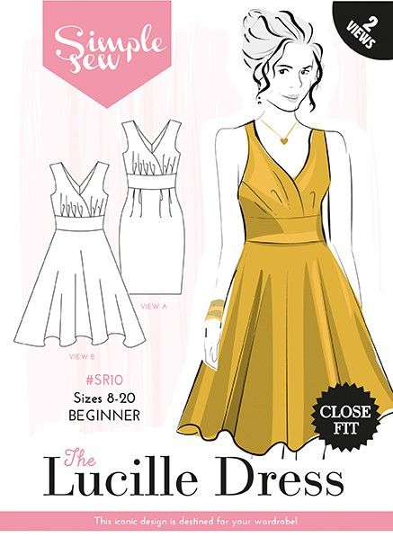 Lucille dress sewing pattern by designer Simple Sew, find out more and read reviews of this dressmaking sewing pattern here!