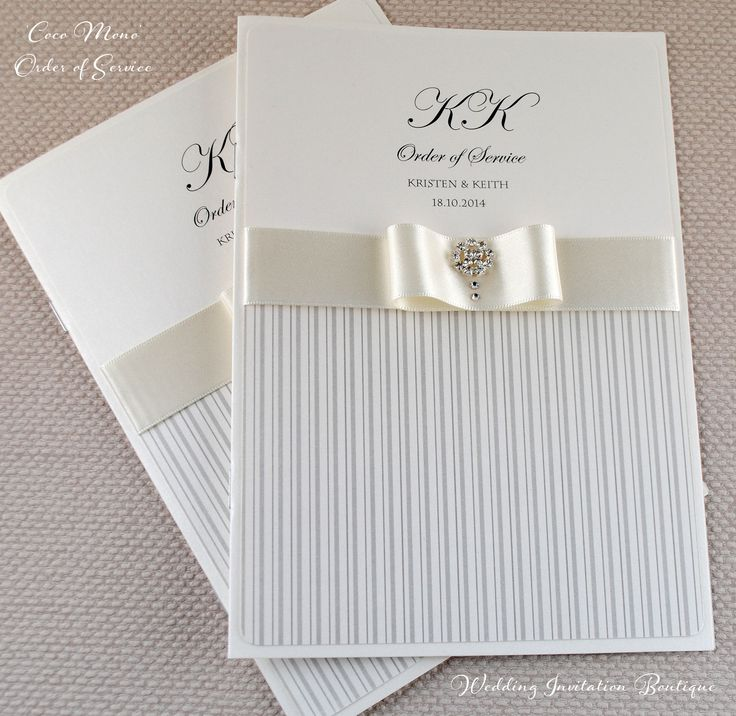 Gorgeous Striped Order of Service Booklet in Silver and Ivory from www.weddinginvitationboutique.co.uk