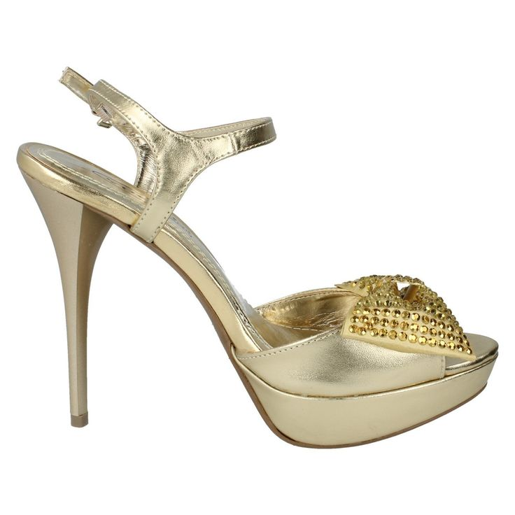 Spot On F1973 Ladies Platform Stilleto Heel Light Gold Sandal Uk 3 X 8 (R15A)