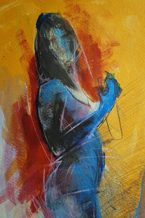Young woman in blue on yellow background. Original by ankaGilding