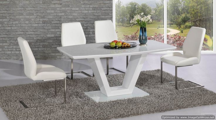 Vanity Dining Table in White with Mariya White Leather Dining Chairs