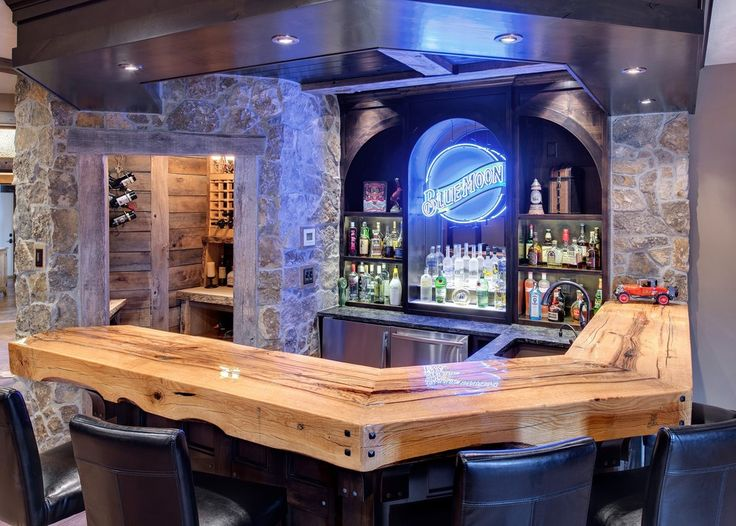 Traditional Home Bar Counter With Natural Wooden Countertop Also Modern Bar  Cabinet For Liquor And Wine Storage Also Black Padded Bar Stools With Back  Also ...
