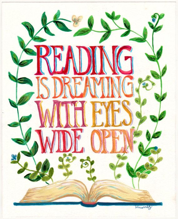 Reading is Dreaming Quote - Books - Plants - 8x10 via Etsy