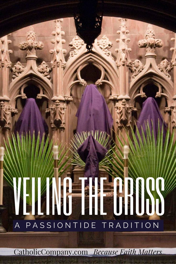 Towards the end of Lent you may notice purple cloths draped over crucifixes, statues, and images of saints in your church
