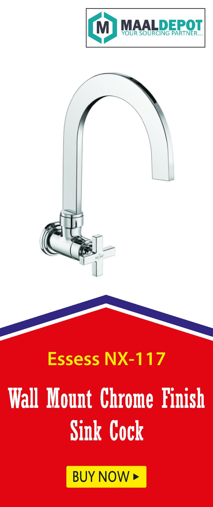 Essess NX-117 Cressida Series-Wall Mount Chrome Finish Sink Cock With Regular Swinging Spout. Shop at http://bit.ly/2aTPy9B for affordable prices. To place orders,call or whatsapp to 9019156789