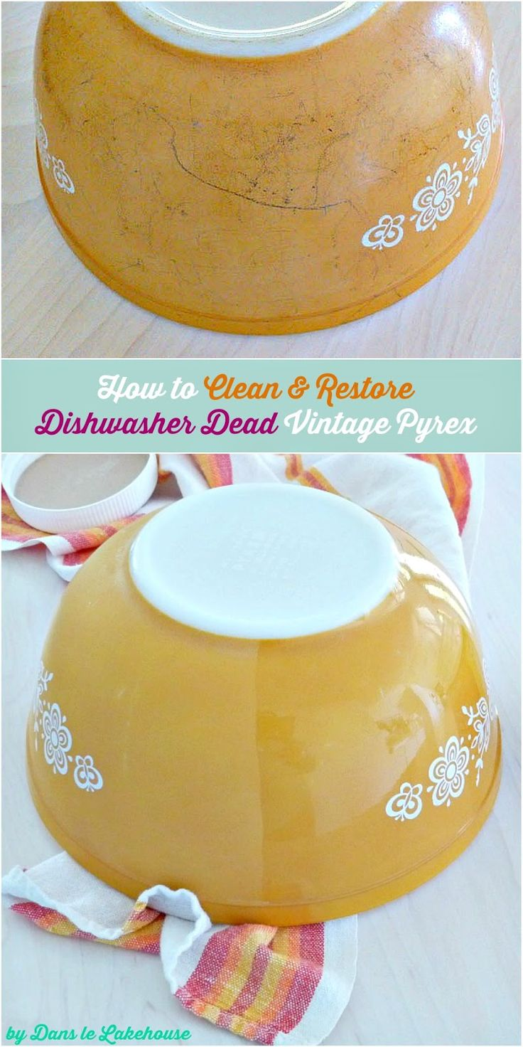 How to clean vintage Pyrex? Tips and tricks and a review of different methods for cleaning vintage Pyrex and restoring shine to dishwashered Pyrex.