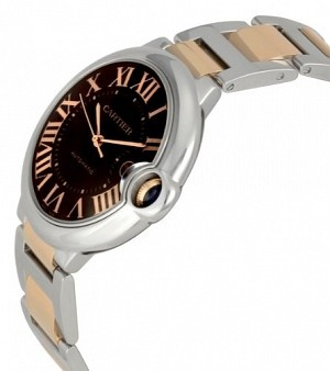 ¥67343  Cartier Ballon Bleu de Cartier Gold and Steel Large Watch