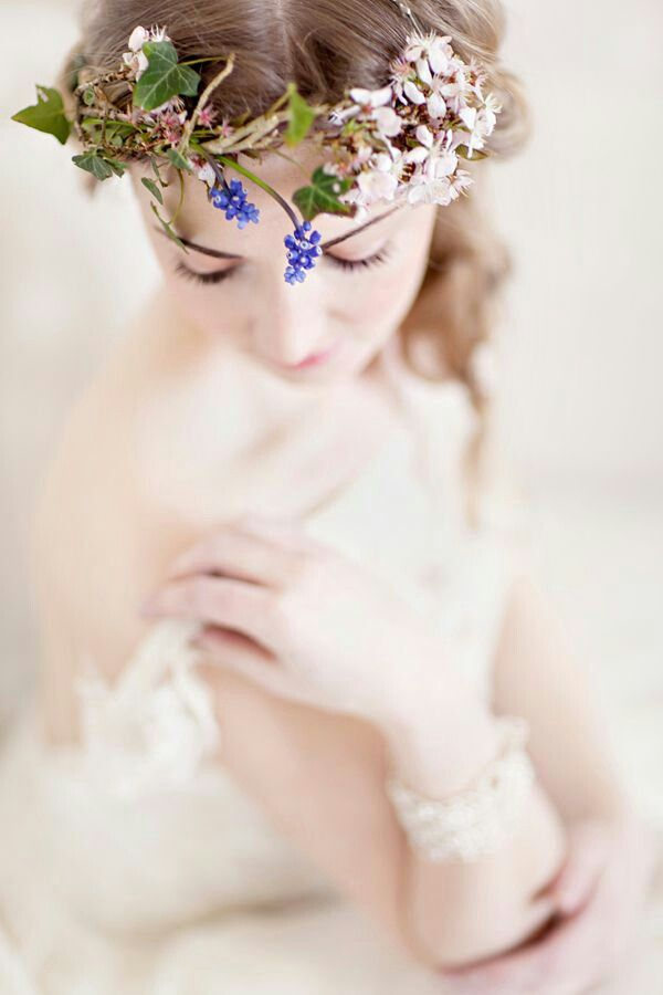 Fresh Floral Halo Of Blue Grape Hyacinth, Green Ivy, Cream Flowers
