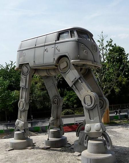 Creative sculpture made by a fan of Star Wars and Volkswagen camper vans. VW Bus transformed into All Terrain Armored Transport / AT-AT Walker.