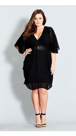 Plus Size Sequin Wrap Dress