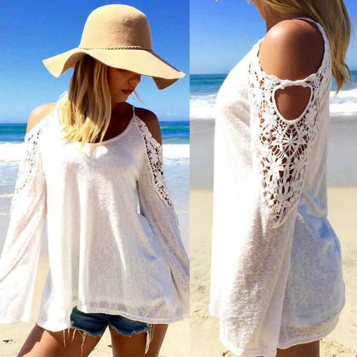 Women's Summer Street Fashion Crochet Lace Hollow out Patched Off Shoulder Flare Sleeve O-neck Pullover Shirt Female Casual Tops